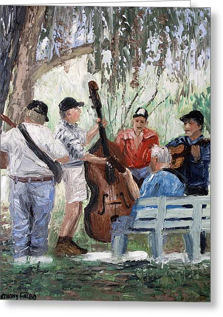 Print On Canvas Greeting Cards - Bluegrass In The Park Greeting Card by Anthony Falbo