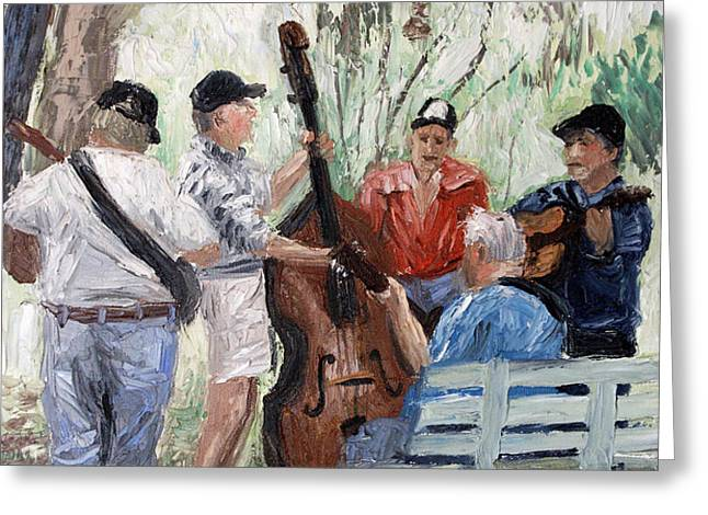 Bluegrass In The Park Greeting Card by Anthony Falbo
