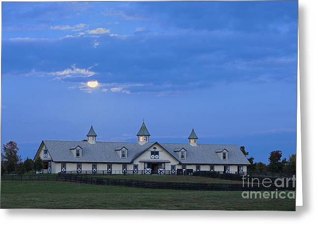 Board Fence Greeting Cards - Bluegrass Moonrise - D008766 Greeting Card by Daniel Dempster