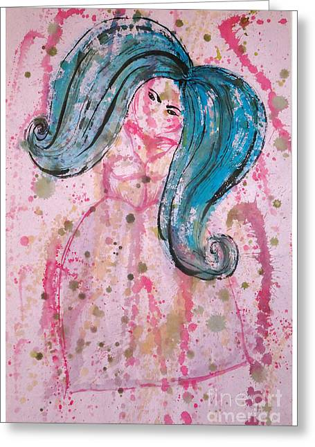 Bubbly Paintings Greeting Cards - BlueHairdLady Greeting Card by Tasha Art