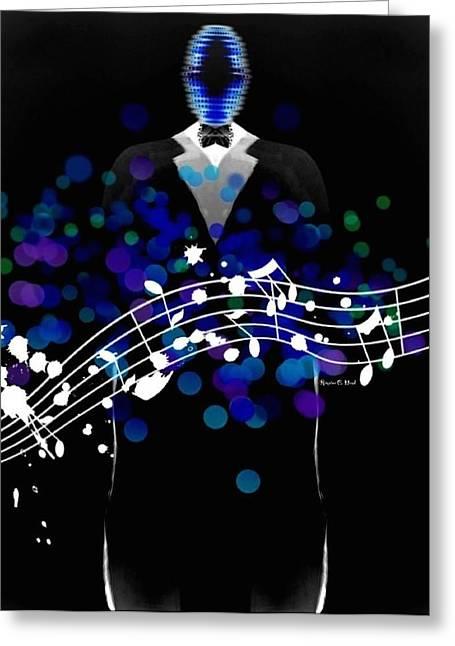 Romaine Digital Art Greeting Cards - BlueMusician Greeting Card by Romaine Head