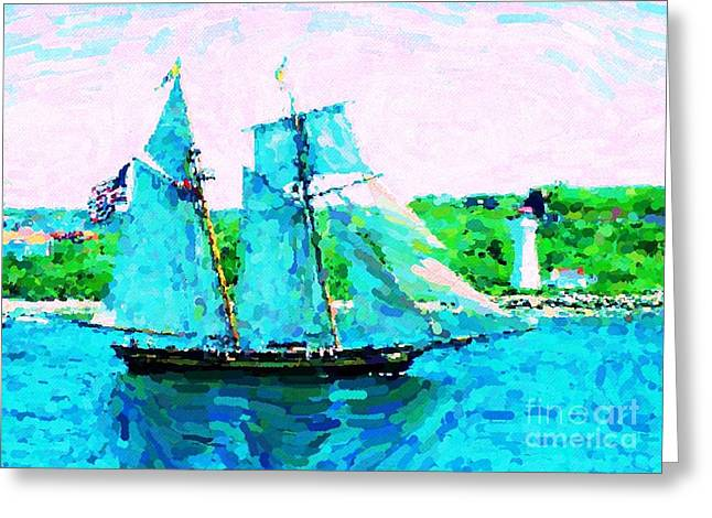 Halifax Art Work Greeting Cards - Bluenose Schooner in Halifax Greeting Card by John Malone