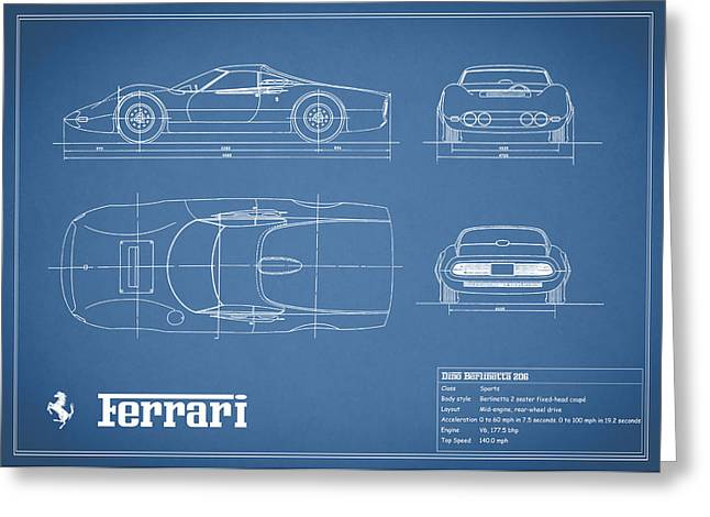Dino Greeting Cards - Blueprint Ferrari Dino 1965 Greeting Card by Mark Rogan