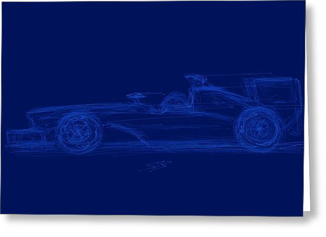 Indy Car Greeting Cards - Blueprint for Speed Greeting Card by Stacy C Bottoms