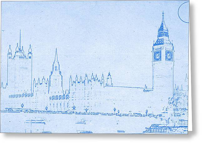 Historical Buildings Mixed Media Greeting Cards - BluePrint London Greeting Card by Adam Asar