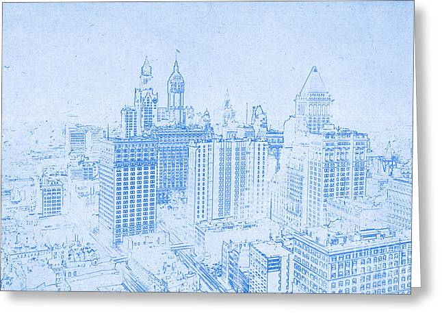 Manhattan Drawings Greeting Cards - BluePrint of Lower Manhattan New York 1912 Greeting Card by Celestial Images