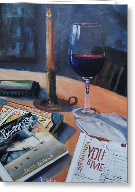 Blues And Wine Greeting Card by Donna Tuten