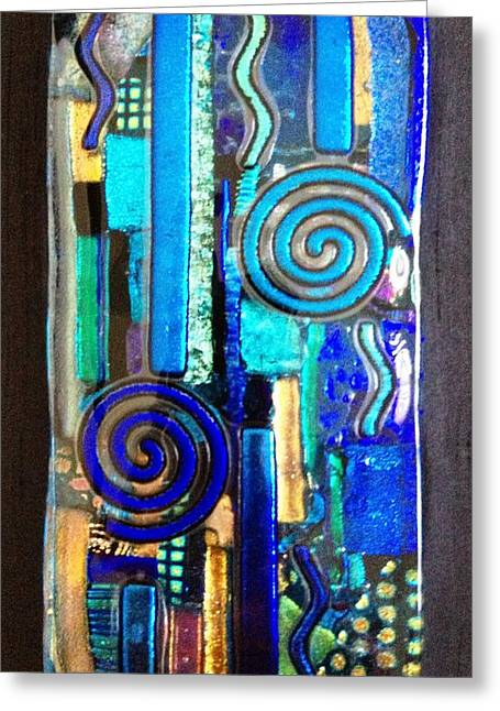 Lines Glass Art Greeting Cards - Blues Greeting Card by Angela DeAnda