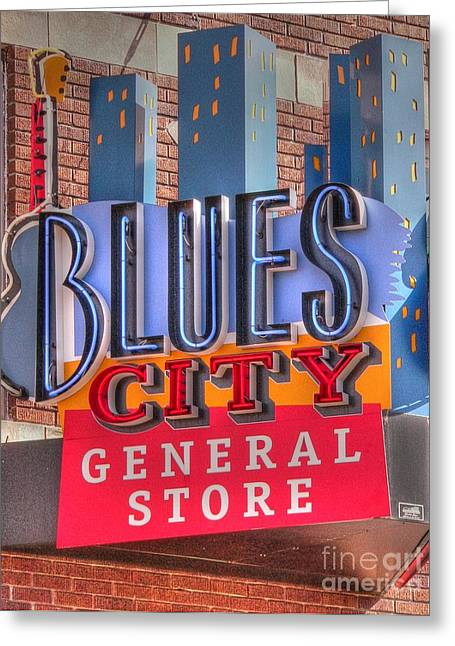 Beale Street Greeting Cards - Blues City Greeting Card by David Bearden