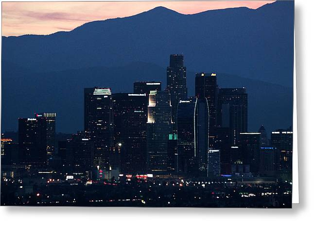 Staples Center Greeting Cards - Blues Dawns on L A Greeting Card by Lorenzo Williams