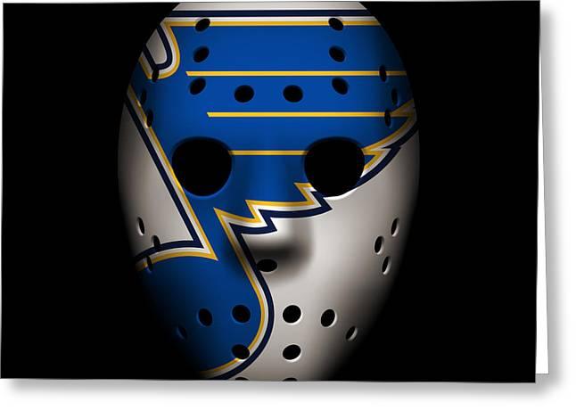 Skate Greeting Cards - Blues Goalie Mask Greeting Card by Joe Hamilton