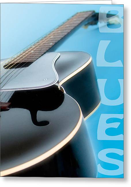 Sound Board Greeting Cards - Blues Guitar Greeting Card by David and Carol Kelly