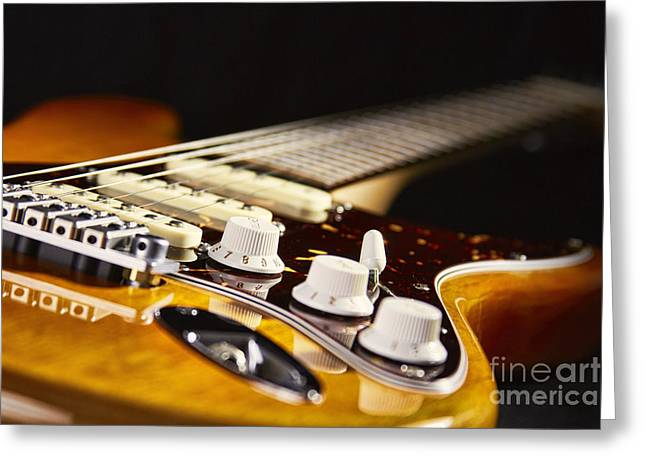 Macro Photography Pyrography Greeting Cards - Blues Guitar Greeting Card by Eyzen M Kim