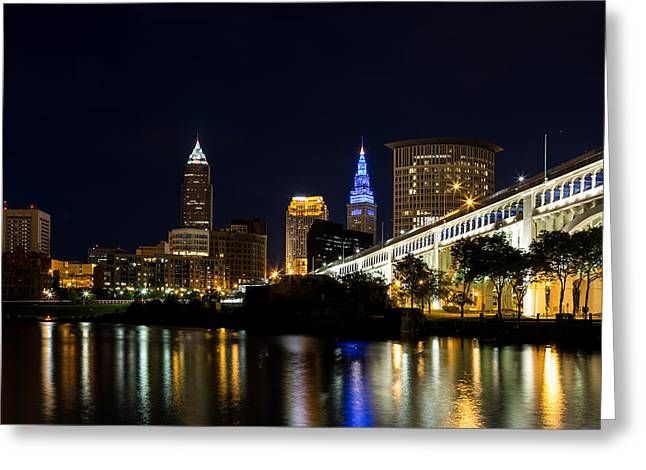 Cuyahoga River Greeting Cards - Blues In Cleveland Ohio Greeting Card by Dale Kincaid