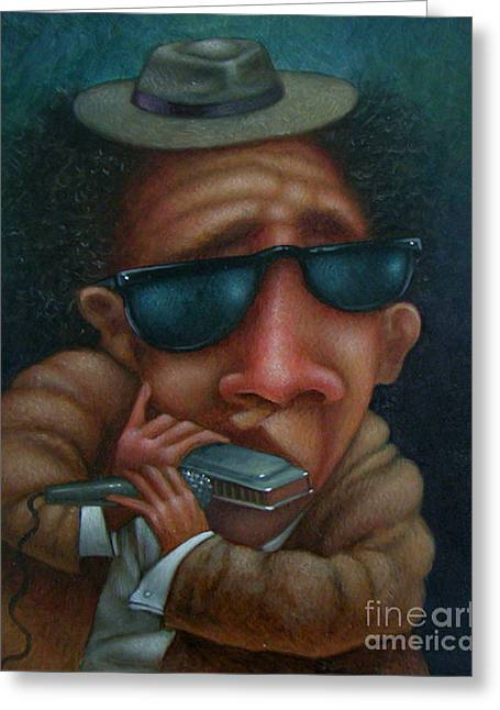 Blues In Hand 2001 Greeting Card by Larry Preston