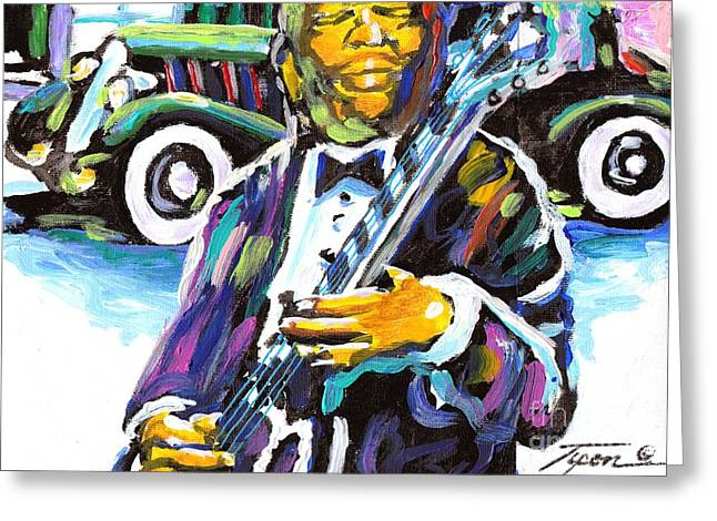Blackart Greeting Cards - Blues in Motion Greeting Card by Jonathan Tyson