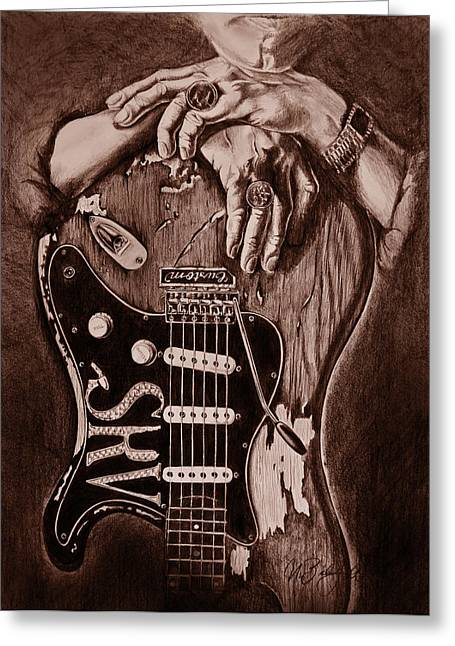 Fender Strat Drawings Greeting Cards - Blues Legend Greeting Card by Art Imago