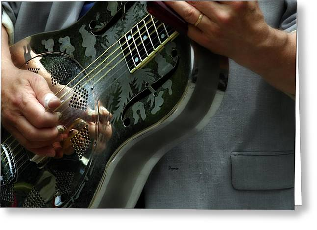 Resonator Greeting Cards - Blues of Steel  Greeting Card by Steven  Digman