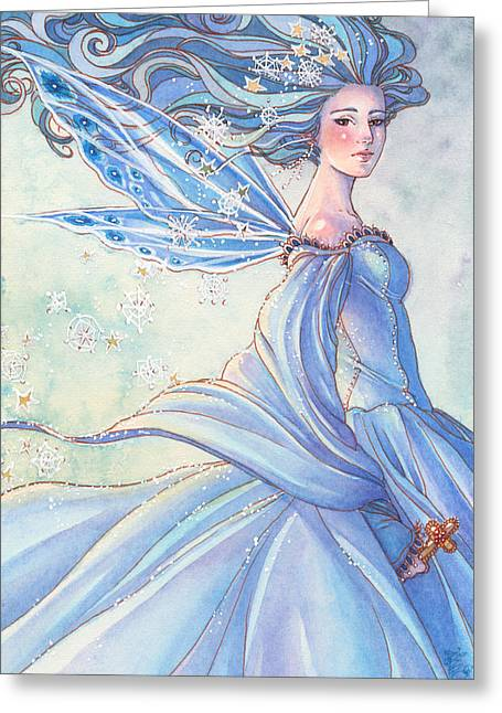 Watercolor Fairytale Greeting Cards - Blues of Winter Greeting Card by Sara Burrier