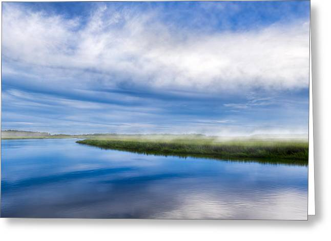 Chatham County Greeting Cards - Blues on Moon River - Panorama Greeting Card by Mark Tisdale