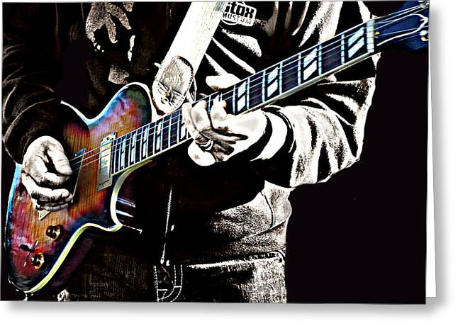Straps Greeting Cards - Blues Road Band Greeting Card by CJ Anderson