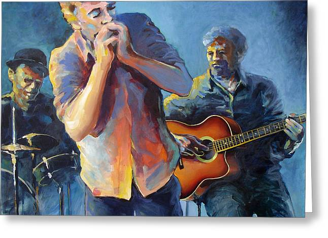 Guitare Greeting Cards - Blues trio Greeting Card by Adin OLTEANU