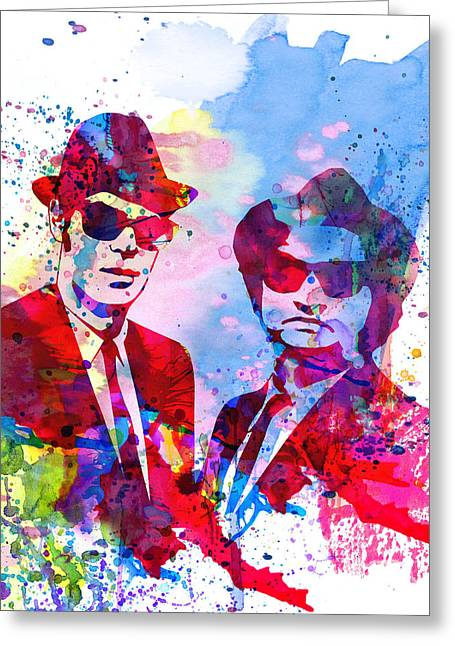 Famous Actor Paintings Greeting Cards - Blues Watercolor Greeting Card by Naxart Studio