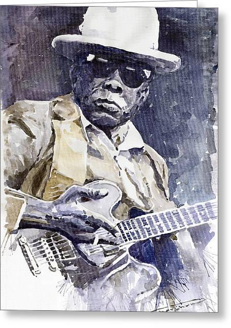 Watercolour Paintings Greeting Cards - Bluesman John Lee Hooker 3 Greeting Card by Yuriy  Shevchuk