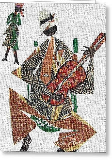 Shade Tapestries - Textiles Greeting Cards - Bluesman Greeting Card by Ruth Yvonne Ash