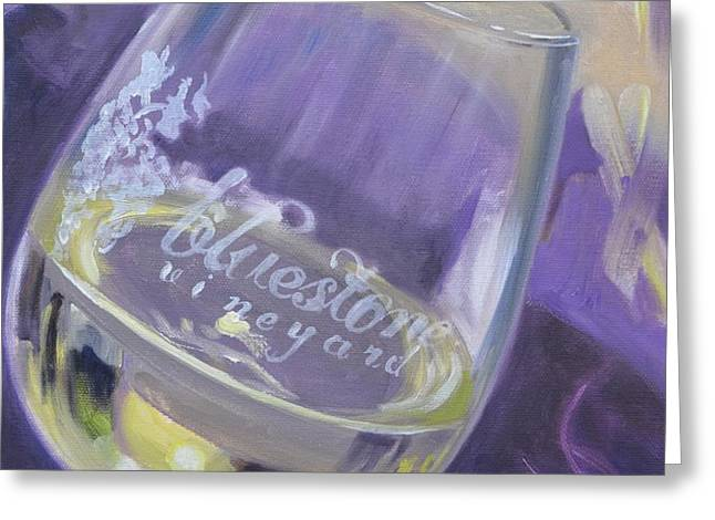 Bluestone Vineyard Wineglass Greeting Card by Donna Tuten