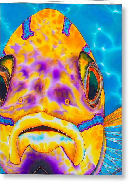 Pelagic Fish Tapestries - Textiles Greeting Cards - Bluestriped Snapper Greeting Card by Daniel Jean-Baptiste