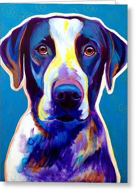 Alicia Vannoy Call Paintings Greeting Cards - Bluetick Coonhound - Berkeley Greeting Card by Alicia VanNoy Call