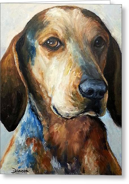 Draco Greeting Cards - Bluetick Coonhound Greeting Card by Dottie Dracos