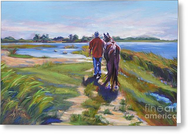 Cowboy Art Collector Greeting Cards - Bluff Point Beach bums Greeting Card by Sylvina Rollins