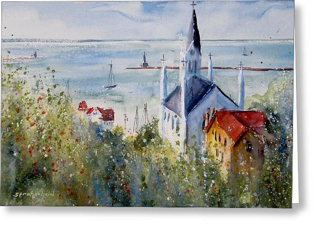 Bridge Of Flowers Greeting Cards - Bluff View St. Annes Mackinac Island Greeting Card by Sandra Strohschein
