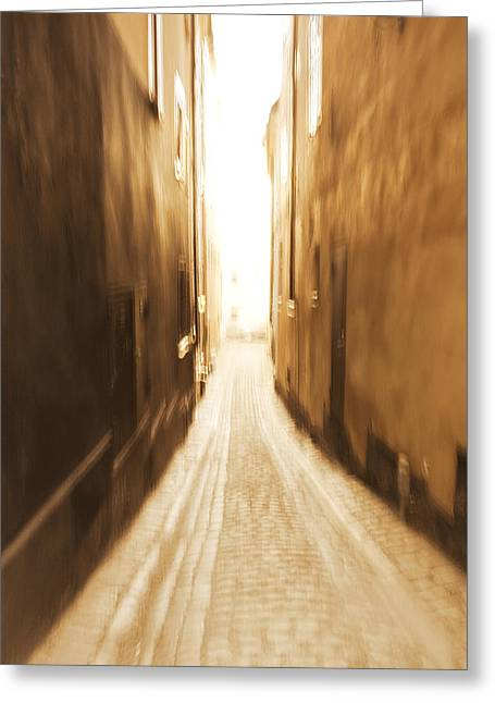 Buildings And Narrow Lanes Greeting Cards - Blurred alley - monochrome Greeting Card by Intensivelight