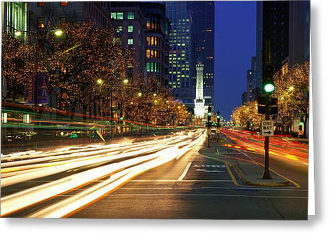 Holiday Decoration Greeting Cards - Blurred Motion, Cars, Michigan Avenue Greeting Card by Panoramic Images