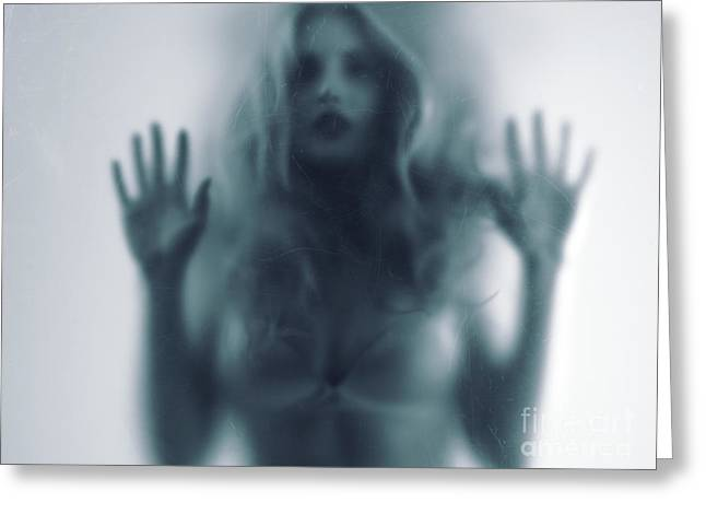 Desperate Greeting Cards - Blurred young woman silhouette behind glass Greeting Card by Oleksiy Maksymenko