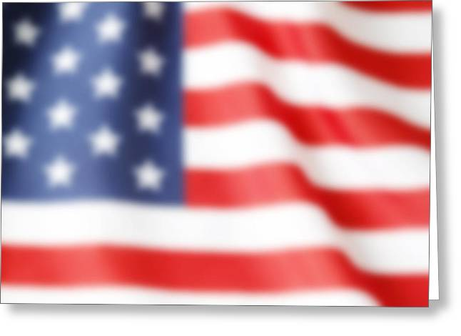 Abstract American Flag Greeting Cards - Blurry flag Greeting Card by Les Cunliffe