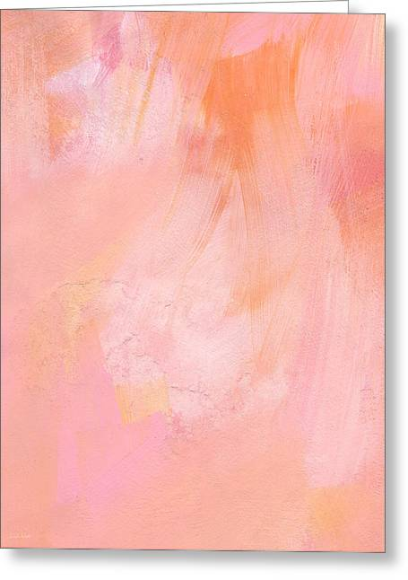 Corporate Art Greeting Cards - Blush- abstract painting in pinks Greeting Card by Linda Woods