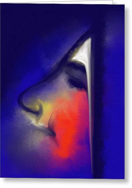 Visage Bleu Greeting Cards - Blushing Greeting Card by Franck Giraud
