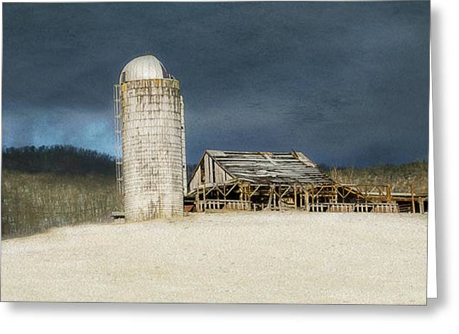 Barn Landscape Photographs Greeting Cards - Blustery Morning Greeting Card by Kathy Jennings
