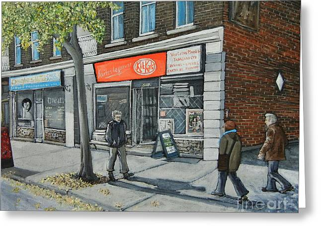 Streets Of Montreal Greeting Cards - Blvd Monk Ville Emard Greeting Card by Reb Frost