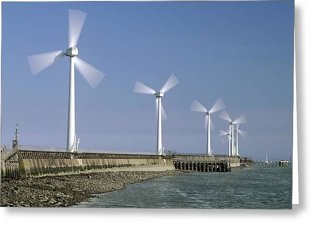Blyth Greeting Cards - Blyth Harbour Wind Farm Greeting Card by Science Photo Library