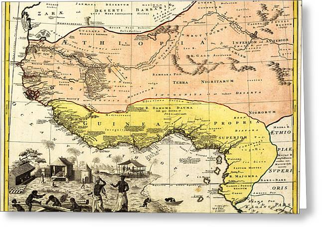 Old Western Photos Drawings Greeting Cards - BM0588 - Map of Western Africa 1743 Greeting Card by Homann Erben