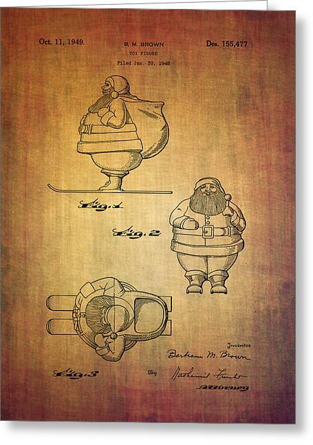 Figurine Mixed Media Greeting Cards - B.M.Brown Santa toy patent from 1948 Greeting Card by Eti Reid