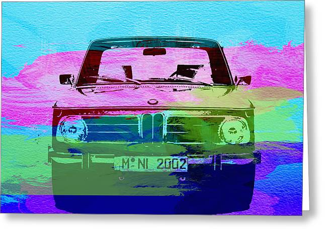Bmw Watercolor Greeting Cards - BMW 2002 Front Watercolor 1 Greeting Card by Naxart Studio
