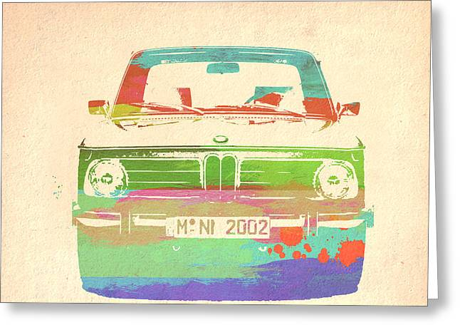 Concept Photographs Greeting Cards - BMW 2002 Front Watercolor 3 Greeting Card by Naxart Studio