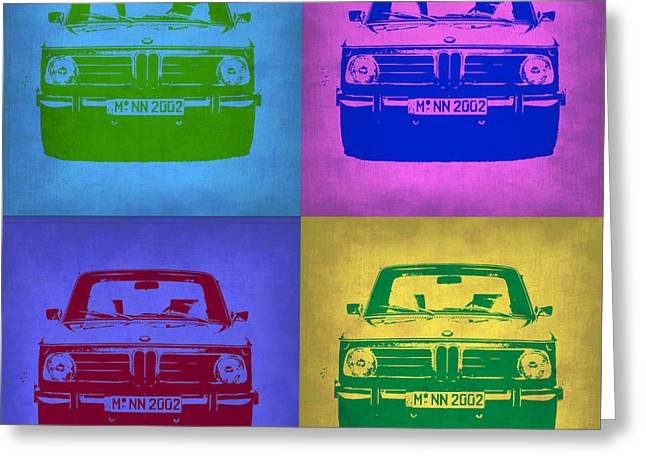 Bmw Watercolor Greeting Cards - BMW 2002 Pop Art 3 Greeting Card by Naxart Studio