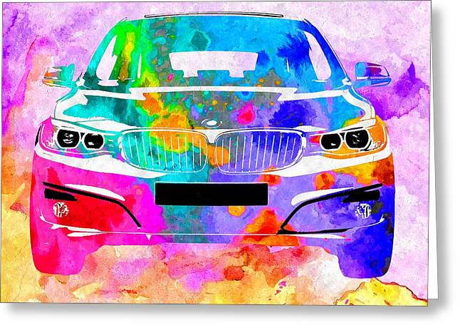 Bmw Watercolor Greeting Cards - BMW 3 Gran Turismo Greeting Card by Daniel Janda